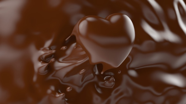 Splash of chocolate, splashing into a heart shape, for valentine or love concept, 3d rendering, 3d illustration.