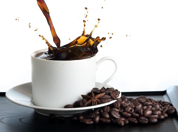Splash coffee isolated on white background