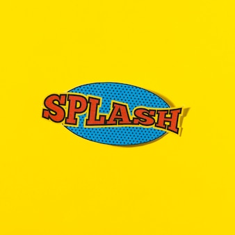 Splash comic text speech bubble vector on yellow backdrop