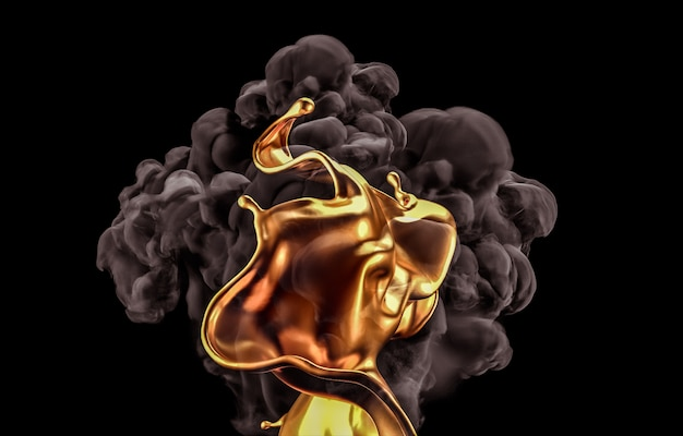 Splash of gold and smoke on black background. 3d rendering.