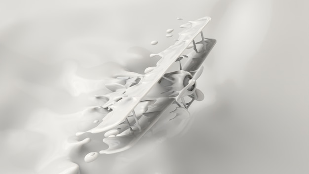 Splash of milk, splashing into a airplane shape, 3d rendering, 3d illustration.