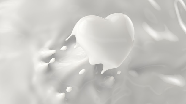 Splash of milk, splashing into a heart shape, for valentine or love concept, 3d rendering, 3d illustration.