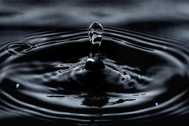 黒の背景に水滴のスプラッシュ
