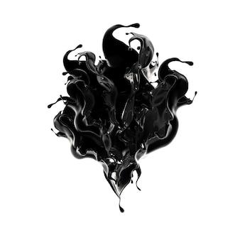 黒い液体のしぶき。 3dイラスト、3dレンダリング。