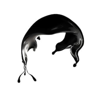 Всплеск черной жидкости. 3d иллюстрация