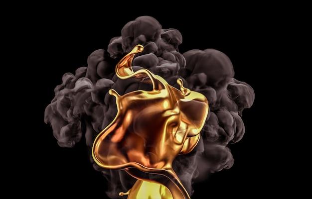 金と黒の背景に煙のスプラッシュ。 3dレンダリング。