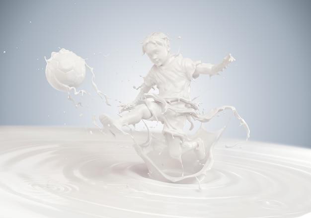 Всплеск молока в форме тела мальчика, играющего в футбол