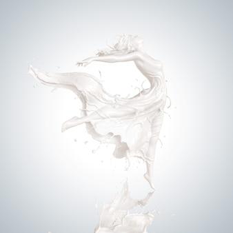 Всплеск молока в форме дамских танцев