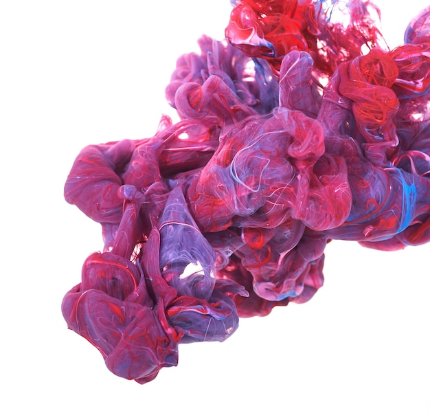 빨간색과 파란색 페인트의 스플래시. 물에 잉크