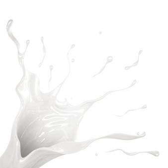 Всплеск густой белой жидкости. 3d иллюстрации, 3d рендеринг.