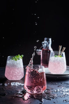 Splash of a pink cocktail