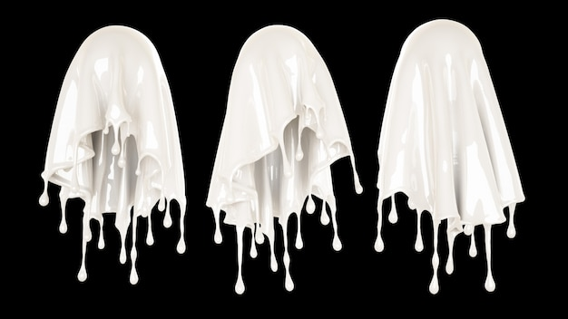 Splash of thick white liquid on a black background. 3d rendering.
