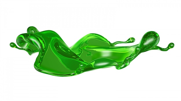 Splash of transparent liquid of a green color on white. 3d rendering.