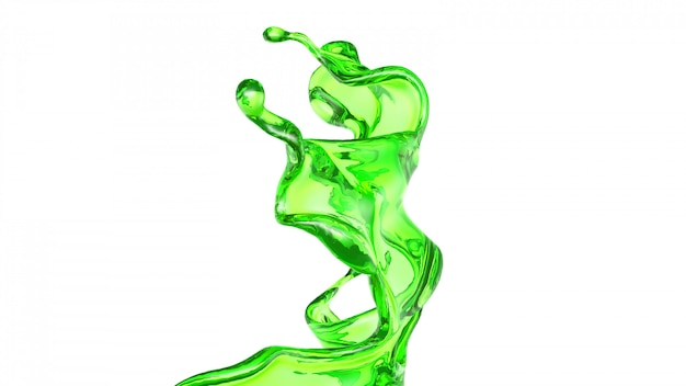 Splash of transparent liquid of a green color on a white background. 3d rendering.
