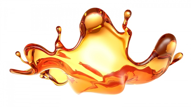 Splash of a transparent orange liquid on white. 3d rendering.