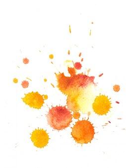 Splash of watercolor drop on white paper.