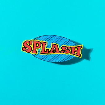 Splash wording sound effect for comic speech bubble on turquoise background