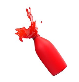 Брызги жидкости или краски из красной непрозрачной бутылки на белом фоне