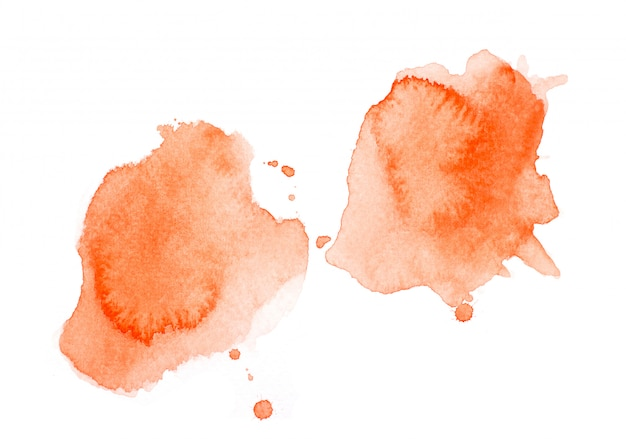 オレンジ色の水彩画をはねかけます。