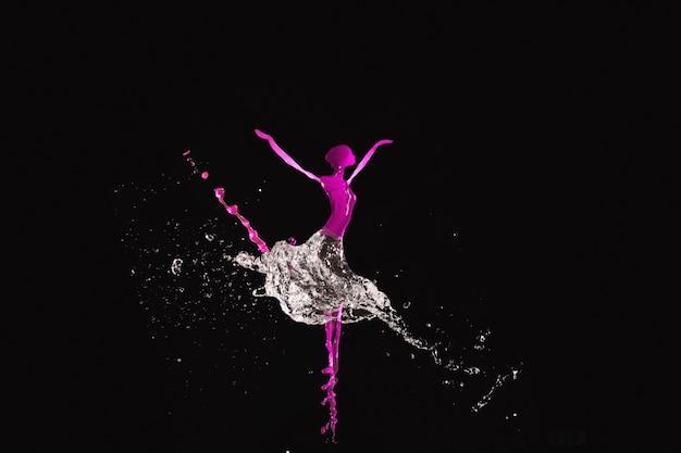 검은 배경에 춤추는 여자를 나타내는 튀는 수채화