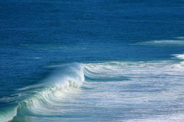 Splashing waves on the vivid blue sea