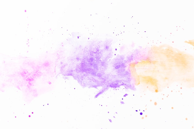 Splatters of violet and yellow paint