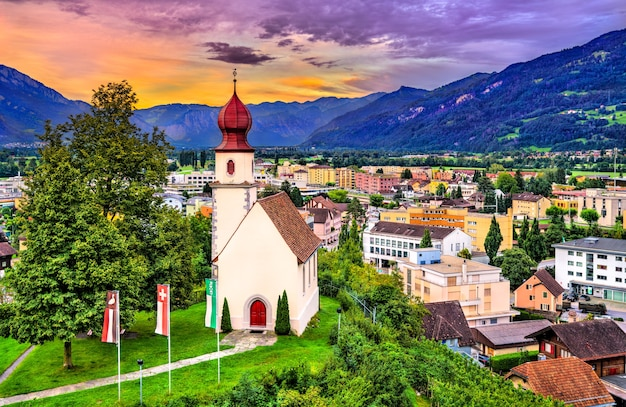 Spleekapelle、日没時のザルガンスの礼拝堂-スイス、ザンクトガレン州