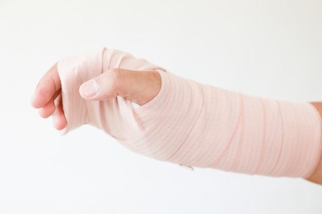 Шина и повязки на запястье из-за травмы. иммобилизация гипса и шины