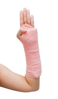 Splint,broken bone,broken hand isolate on white background