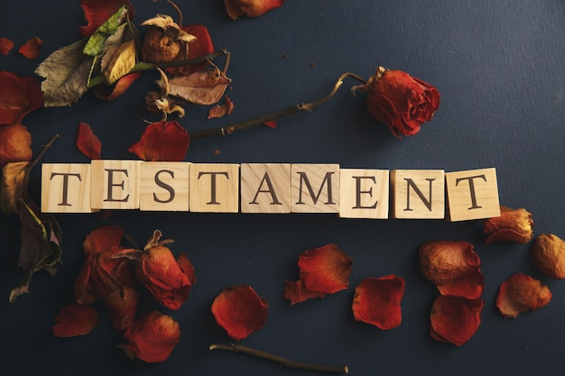 Splotchy retro effect on photo concept last will and testament