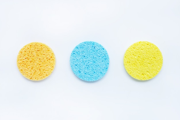Sponge for  face make-up cleaning on white.