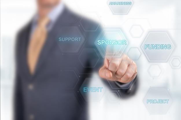 Sponsorship digital design with blurred businessman in the background