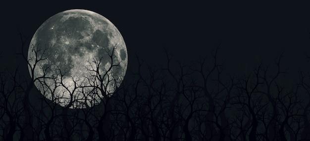 山、木、衛星のパノラマの不気味な3dイラスト。霧のある浅くて深い山があります。そして夜の森の月