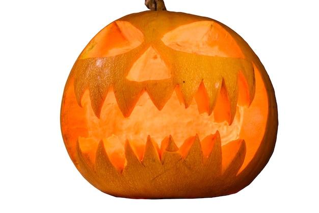 Жуткая тыква на хэллоуин, изолированные на белом фоне