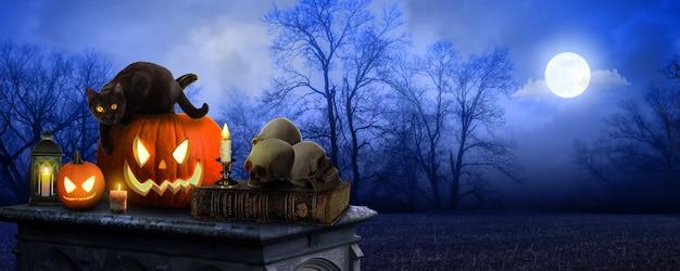 Spooky halloween pumpkins jack o lantern table with a misty gray coastal night background