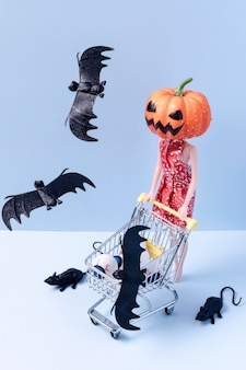 Spooky halloween toys and bats