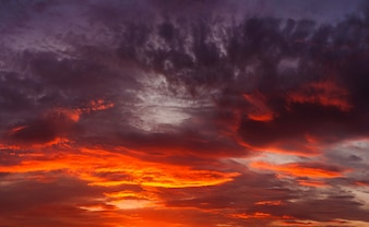 Spooky orange sky with clouds