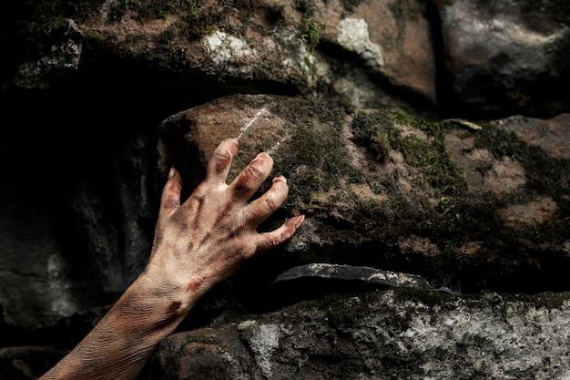 Жуткая рука зомби в природе