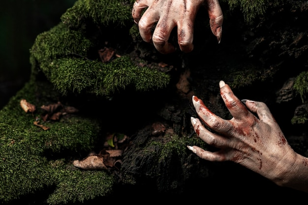 Spooky zombie hands in nature
