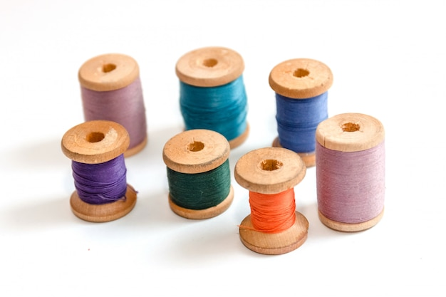 Spool of thread isolated on white background, sewing supplies and accessories