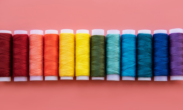 Spools of thread on the colors of the rainbow