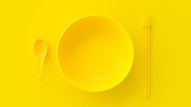 スプーン、箸、カップ黄色
