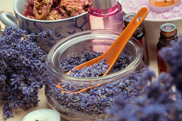 Spoon of dry lavenders
