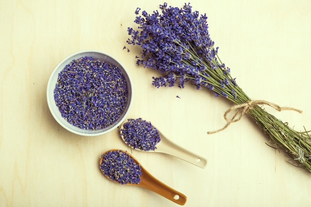 Spoon of dry lavenders