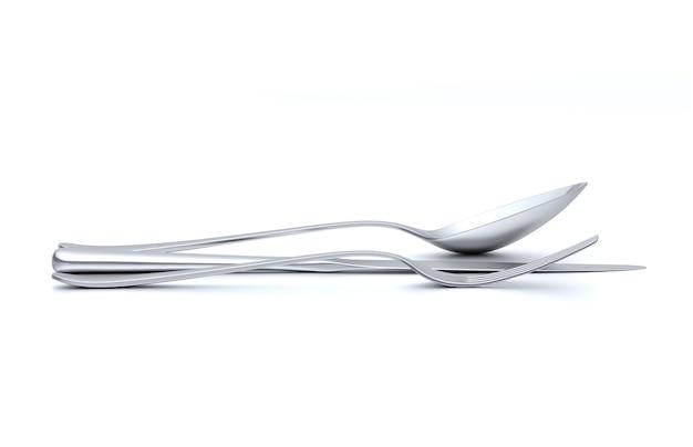 スプーン、フォーク、ナイフ、テーブルの上