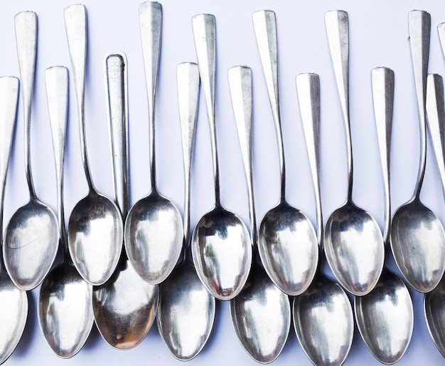 Spoon group on white background