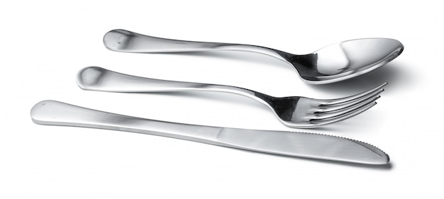 Spoon, knife and fork isolated on white background