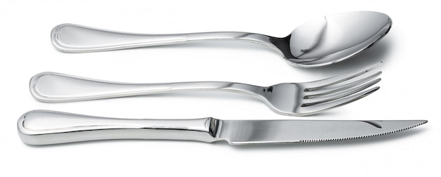 Spoon, knife and fork isolated