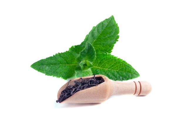 Ложка с листьями чая и свежим зеленым листом мяты, изолированные на белом фоне