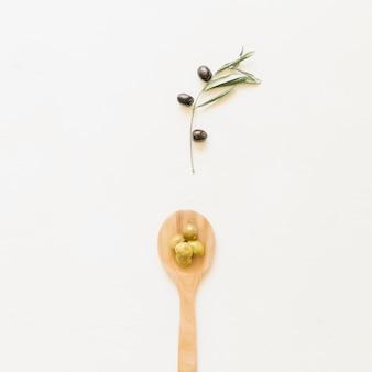Cucchiaio con olive e rami d'ulivo